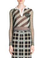 Fendi Stripe Polo Knit Top