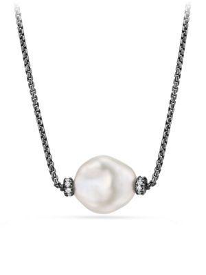 David Yurman Solari Station Necklace With Diamonds And Pearls