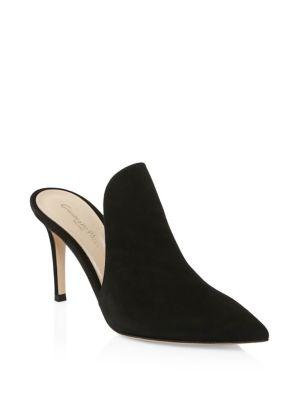 Gianvito Rossi Suede Point-toe Mules