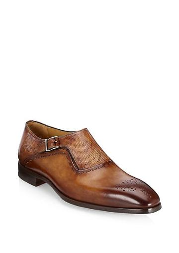 Saks Fifth Avenue Collection Laser-cut Monk Strap Leather Dress Shoes