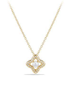 David Yurman Venetian Quatrefoil Pendant Necklace With Diamonds And 6mm White Pearl In 18k Gold