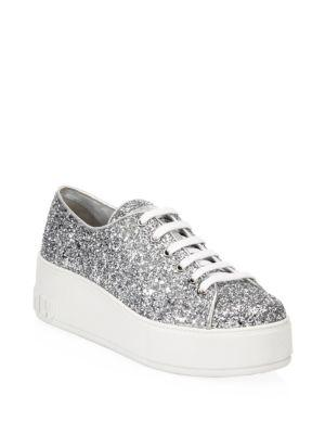Miu Miu Glitter Platform Sneakers