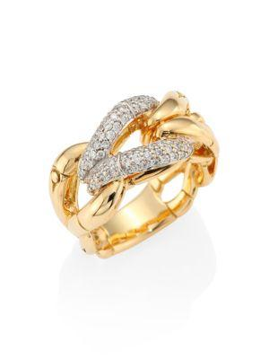 John Hardy Bamboo Diamond & 18k Yellow Gold Woven Ring