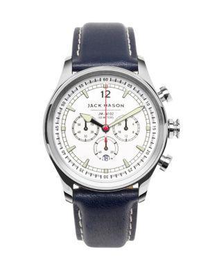 Jack Mason Nautical Stainless Steel & Italian Leather White Dial Chronograph Strap Watch