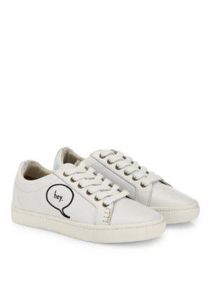 Soludos Embroidered Speech Bubble Leather Sneakers