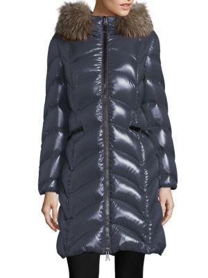 Moncler Albizia Removable Fox Fur Puffer Coat