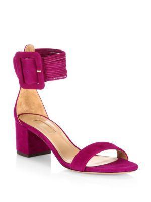 Aquazzura Casablanca Suede Block Heel Sandals