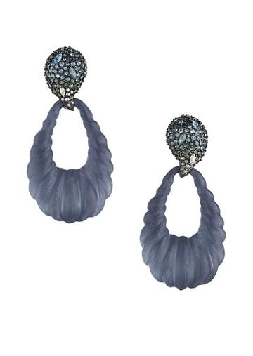 Alexis Bittar Frosted Crystal Ombre Paisley Rope Teardrop Earrings