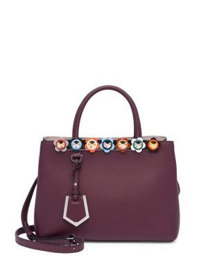 Fendi Small 2 Jours Flower Studded Leather Tote
