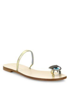 Chiara Ferragni Flirting Leather Toe Ring Sandals