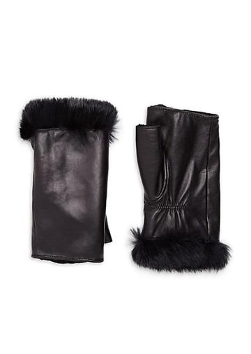 Glamourpuss Rabbit Fur Trim Fingerless Leather Gloves