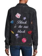Logophile Embroidered Boyfriend Denim Jacket