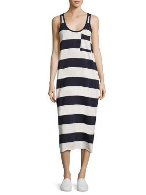 Atm Anthony Thomas Melillo Striped Mercerized Cotton Dress