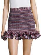 Petersyn Cotton Plaid Ruffle Mini Tube Skirt