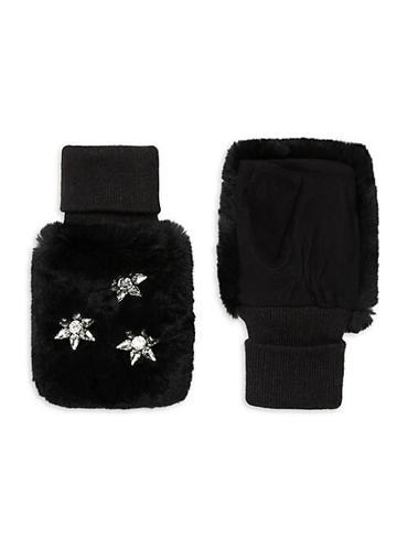 Glamourpuss Rabbit Fur Jeweled Mittens