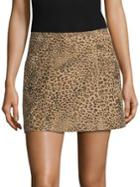 Joie Rodgers Leopard Print Suede Mini Skirt