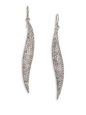 Abs By Allen Schwartz Jewelry Pave Wave Drop Earrings/silvertone