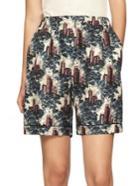 Burberry Castle-print Silk Shorts