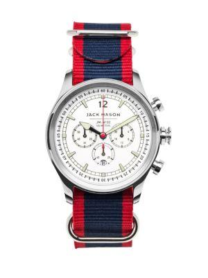 Jack Mason Nautical Stainless Steel Chronograph Striped Strap Watch