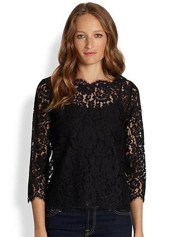 Joie Elvia Sheer Lace Button-back Top