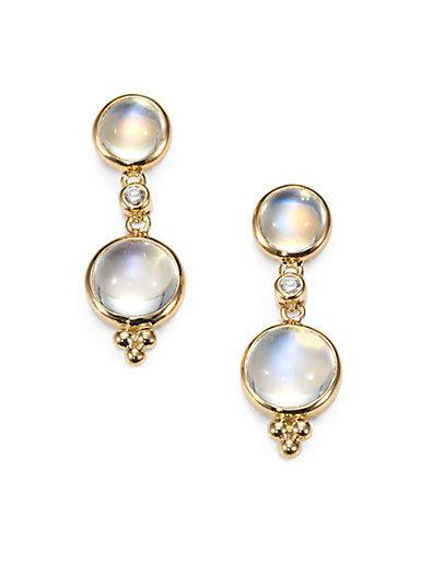 Temple St. Clair Royal Blue Moonstone, Diamond & 18k Yellow Gold Drop Earrings