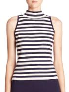 Milly Striped Sleeveless Mockneck Top