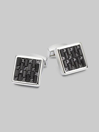 Tateossian Swarovski Interlock Cuff Links