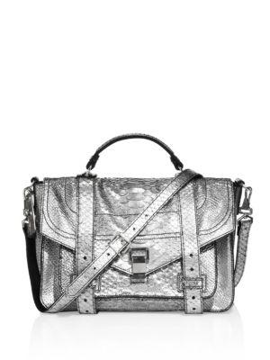 Proenza Schouler Ps1 Medium Metallic Python-embossed Leather Satchel