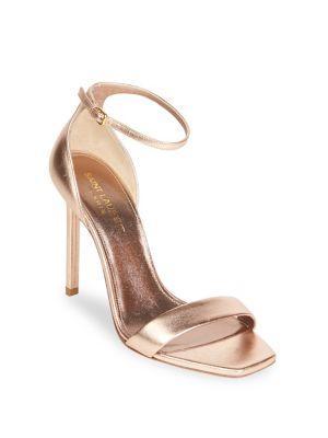 Saint Laurent Metallic Leather Ankle-strap Pumps