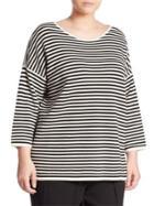 Eileen Fisher, Plus Size Striped Silk & Organic Cotton Top