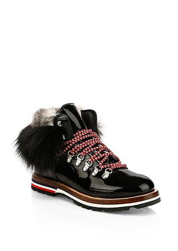 Moncler Solange Mink Fur-trim Patent Lace-up Ankle Boots