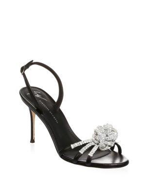 Giuseppe Zanotti Mistico Crystal Embellished Leather Slingbacks