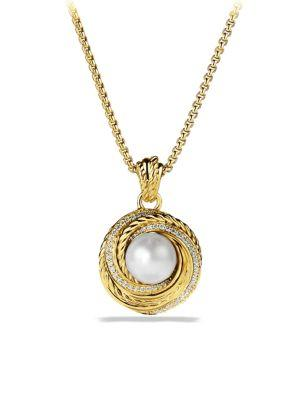 David Yurman Crossover Pearl Pendant Necklace With Diamonds In Gold
