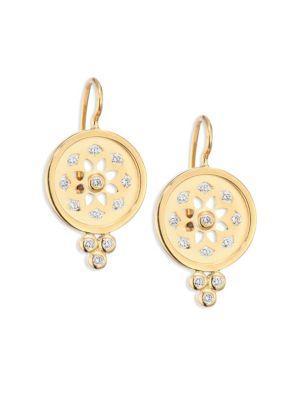 Temple St. Clair Mandala Diamond & 18k Yellow Gold Cutout Earrings