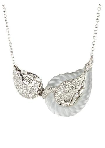 Alexis Bittar Frosted Crystal Paisley Rope Hinged Bib Necklace