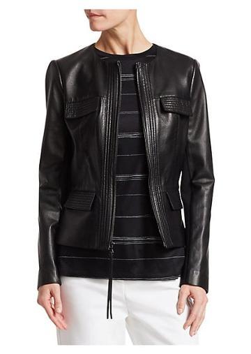 St. John Nappa Leather Pocket Detail Jacket