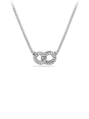 David Yurman Belmont Curb Link Double Link Necklace With Diamonds