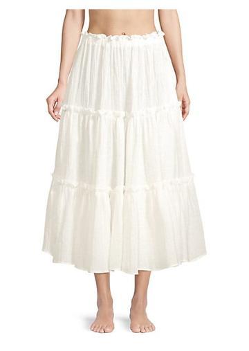 Lisa Marie Fernandez Ruffle Linen-blend A-line Peasant Skirt