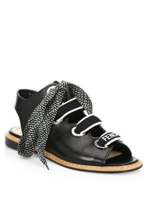 Fendi Ellettra Leather Sandals