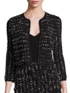 Lela Rose Speckled Tweed Cropped Knit Jacket