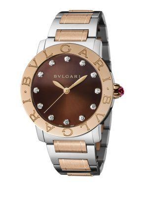 Bvlgari Bvlgari Bvlgari Rose Gold, Stainless Steel & Diamond Bracelet Watch