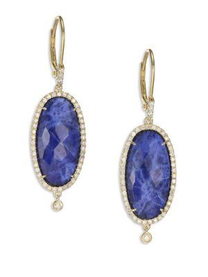 Meira T Sodalite, Diamond & 14k Yellow Gold Drop Earrings