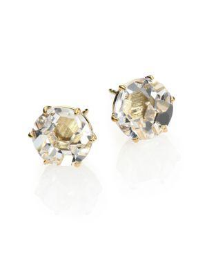 Ippolita Rock Candy Clear Quartz & 18k Yellow Gold Stud Earrings