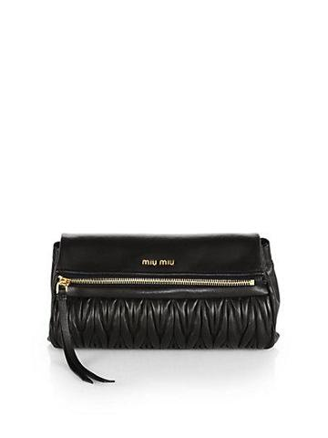 Miu Miu Matelasse Leather Foldover Clutch