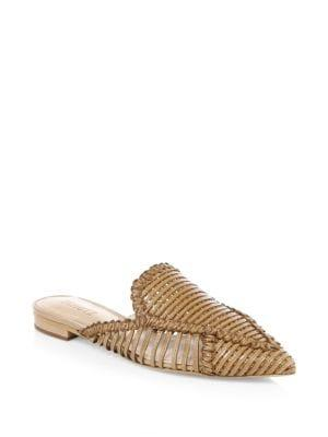 Schutz Leather Basket Weave Mules