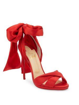 Christian Louboutin Tres Frais 120 Satin Ankle-tie Sandals