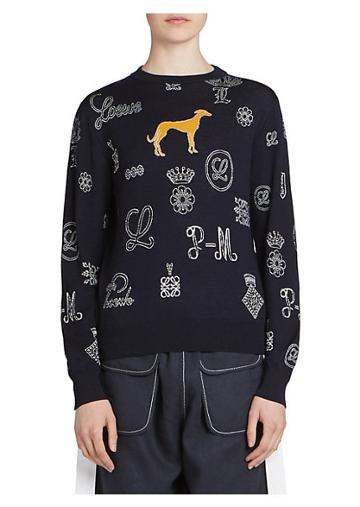 Loewe Wool-blend Logo & Dog Sweater