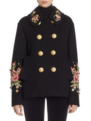 Dolce & Gabbana Floral-embroidered Wool Double-breasted Jacket