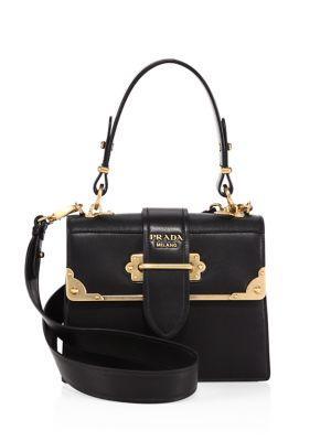 Prada Cahier Leather Handbag