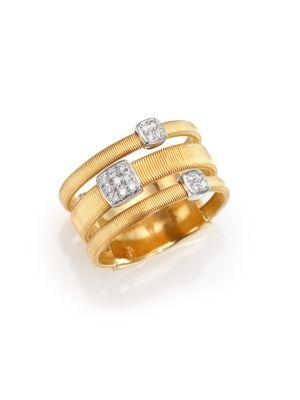 Marco Bicego Masai Diamond, 18k Yellow Gold & 18k White Gold Station Ring